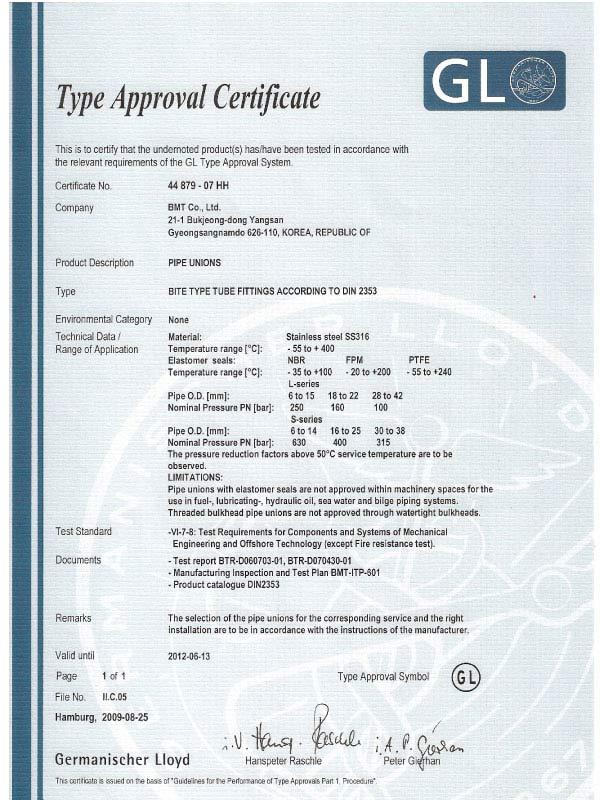 Germanischer Lloyd Certificate